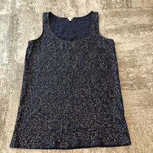 J. Crew Blue Sequin Tank Top Size Medium